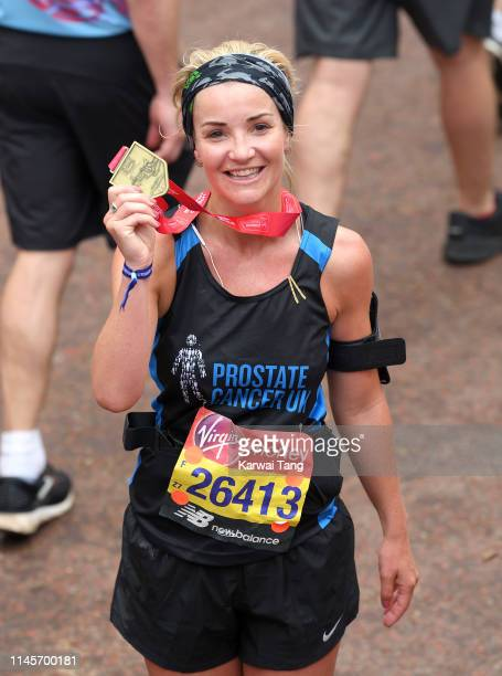 Helen Skelton poses with her medal after completing the Virgin London Marathon 2019 on April 28, 2019 in London, United Kingdom.