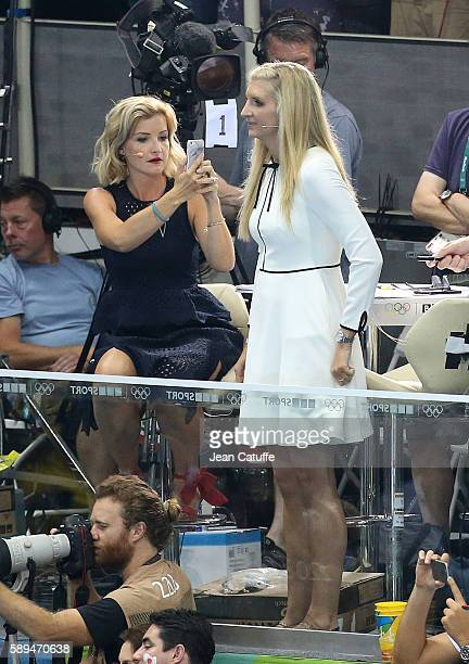 Helen Skelton Rebecca Adlington comment for BBC Sport the swimming finals on day 8 of the Rio 2016 Olympic Games at Olympic Aquatics Stadium on...