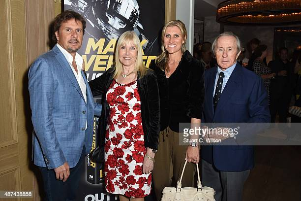 Helen Stewart and Jackie Stewart attend the Mark Webber book launch Aussie Grit My Formula One Journey at the Ham Yard Hotel on September 9 2015 in...