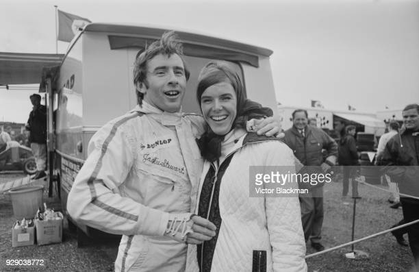 Helen Stewart congratulates his husband British racing driver Jackie Stewart after his victory at the Dutch Grand Prix Circuit Park Zandvoort...