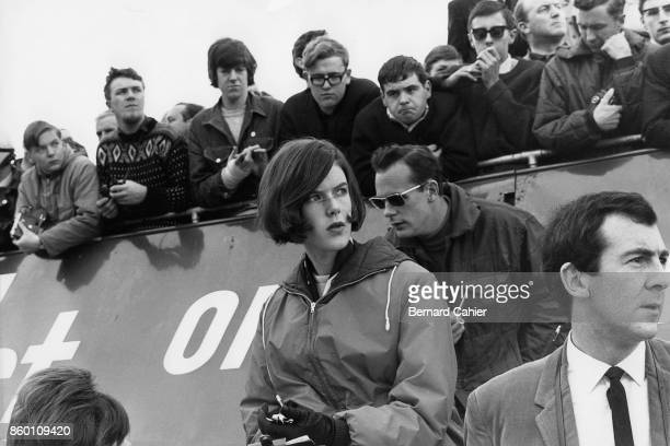Helen Stewart Grand Prix of Great Britain Silverstone Circuit July 10 1965 Helen Stewart doing the timing in the BRM box British Grand Prix 1965