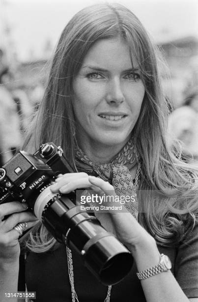 Helen Stewart, the wife of Scottish racing driver Jackie Stewart, during the 1974 British Grand Prix at Brands Hatch, UK, 20th July 1974.