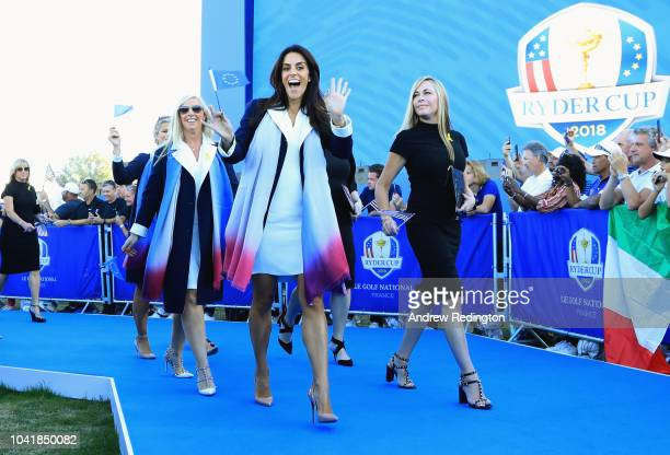 Helen Storey arrives to the opening ceremony for the 2018 Ryder Cup at Le Golf National on September 27 2018 in Paris France