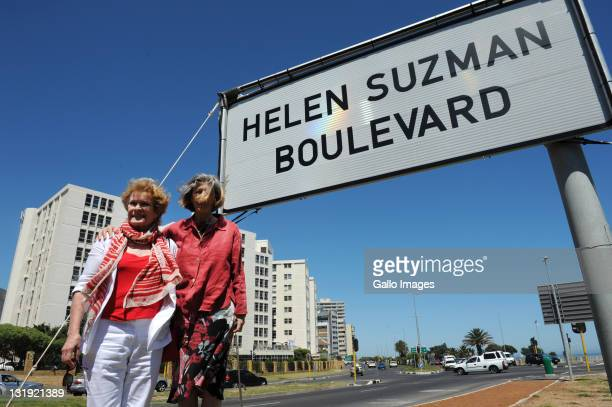 Helen Suzman's daughter Patricia Suzman and her cousin South Africanborn British actress Dame Janet Suzman attend the unveiling of Western...
