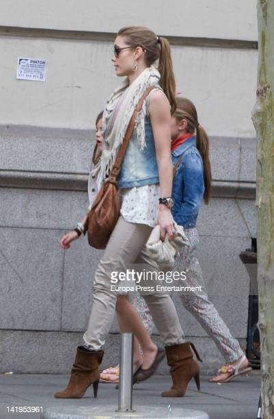 Helen Svedin and daughters are seen at the Golden Mile on March 26 2012 in Madrid Spain