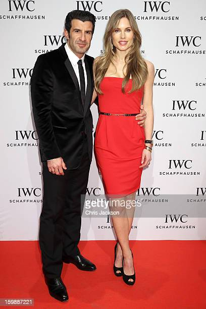 Helen Svedin and Luis Figo attend the IWC Schaffhausen Race Night event during the Salon International de la Haute Horlogerie 2013 at Palexpo on...