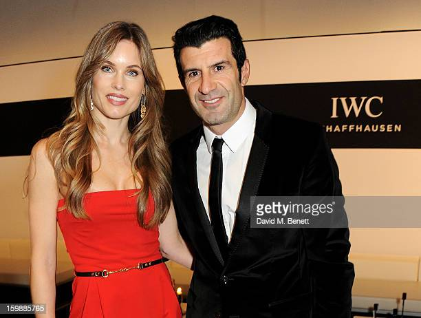 Helen Svedin and Luis Figo attends the IWC Schaffhausen Race Night event during the Salon International de la Haute Horlogerie 2013 at Palexpo on...