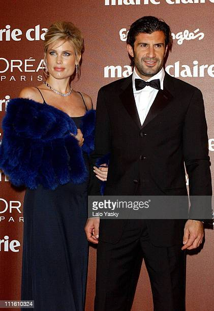Helen Svedin and Luis Figo during 2004 Marie Claire Prix de la Mode Ceremony at French Ambassador Residence in Madrid Spain