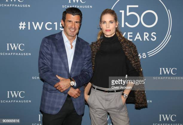 Helen Svedin and Luis Figo visit the IWC booth during the Maison's launch of its Jubilee Collection at the Salon International de la Haute Horlogerie...