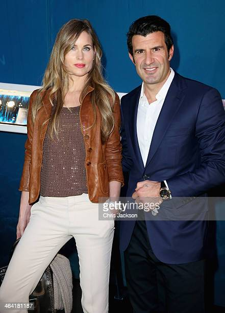Helen Svedin and Luis Figo visit the IWC booth during the Salon International de la Haute Horlogerie 2014 at the Palexpo on January 21 2014 in Geneva...