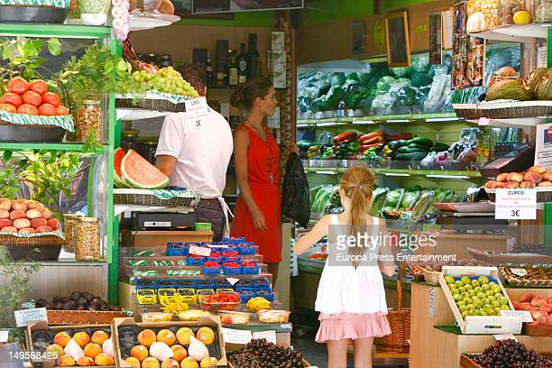 Helen Swedin wife of Luis Figo is seen shopping with her daughter on July 30 2012 in Madrid Spain