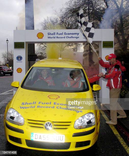 Helen Taylor, John Taylor and Sir Ranulph Fiennes during Shell Fuel Economy World Record Challenge - Photocall at Waterloo Place in London, Great...
