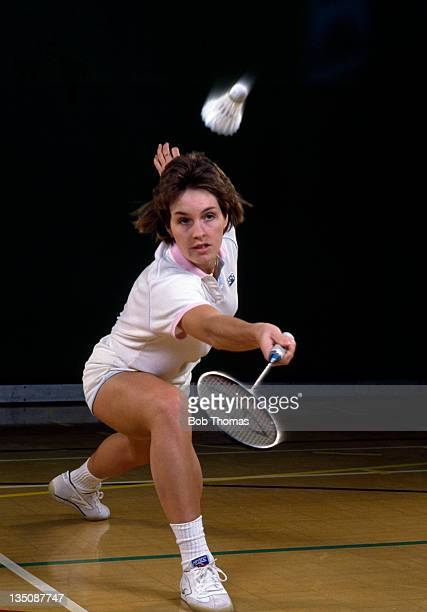 Helen Troke of England European badminton champion and Commonwealth Games gold medallist in action on 11th December 1986