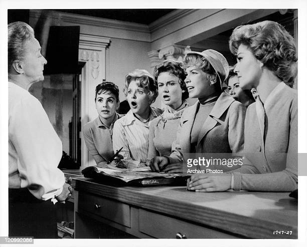 Helen Wallace informs ladies Kathy Reed Elisabeth Fraser Dody Heath Shirley MacLaine and Claire Kelly that Shirley must leave the hotel in a scene...
