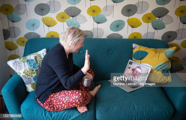 Helen Walters chats to her mother Gillian using video calling as people find alternative ways to celebrate Mother's Day after Prime Minister Boris...