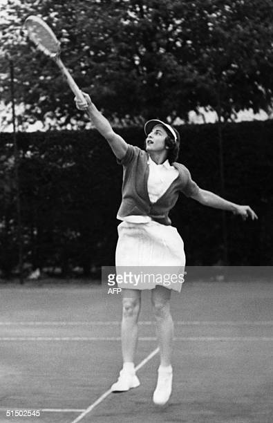 Helen WillsMoody of the US trains at Wimbledon in 1938 in London as she is seeking to win the title for the eighth time Wills Moody won 19 Grand Slam...