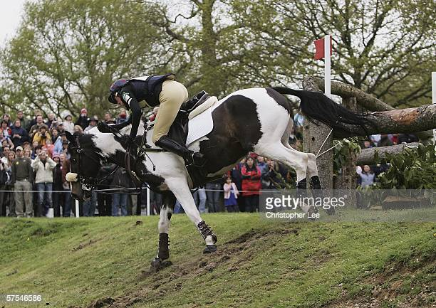 Helen Wilson of Great Britain riding Tip Top Tiger loses her seating and falls off during the Cross Country Event discipline in The Mitsubishi Motors...