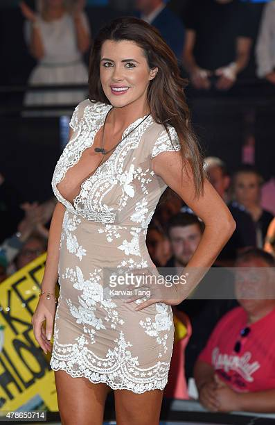 Helen Wood departs after her stay at the Big Brother Timebomb house at Elstree Studios on June 26 2015 in Borehamwood England