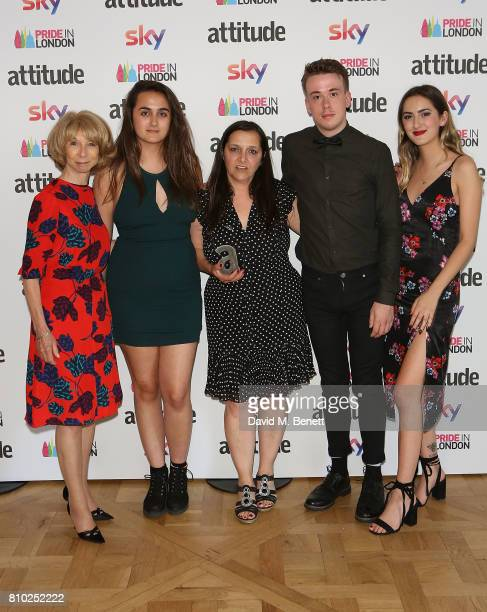 Helen Worth, Nikita Murray, Figen Murray, Russell Howard and Louise Murray attend The Attitude Pride Awards 2017 at Mandarin Oriental Hyde Park on...