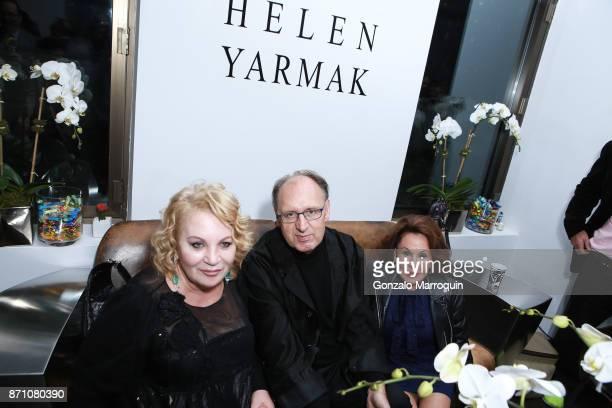 Helen Yarmak Fadil Berisha and Nikki Haskell during the 'Hugh Hefner a Celebration of Life ' Memorial Cocktail Reception at Helen Yarmak Fashion...
