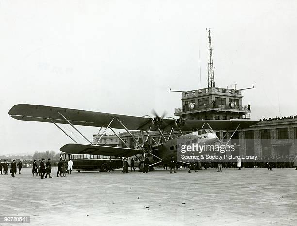 AAXF 'Helena' at Croydon Airport about to depart for Cape Town South Africa The Handley Page HP42 was the most famous Imperial Airways airliner of...