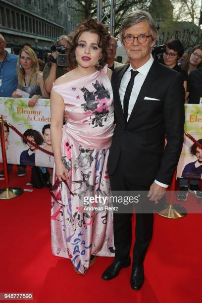 Helena Bonham Carter and director Bille August attend Eleanor Colette premiere at Lichtburg on April 19 2018 in Essen Germany