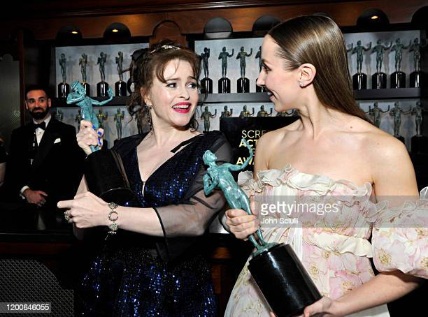 Helena Bonham Carter and Erin Doherty, winners of Outstanding Performance by an Ensemble in a Drama Series pose in the trophy room during the 26th...