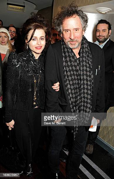 Helena Bonham Carter and Tim Burton attend a gala performance of 'The Book Of Mormon' in aid of Red Nose Day at the Prince Of Wales Theatre on March...