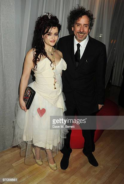 Helena Bonham Carter and Tim Burton attend the afterparty following the Royal World Premiere of 'Alice In Wonderland' at The Sanderson Hotel on...
