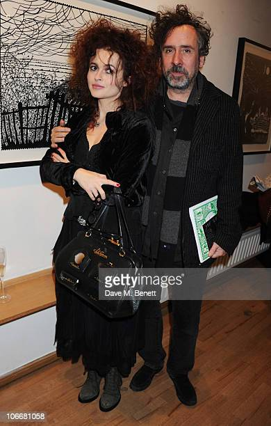 Helena Bonham Carter and Tim Burton attend the Lulu Guinness and Rob Ryan Fan Bag launch party at the Air Gallery on November 10 2010 in London...