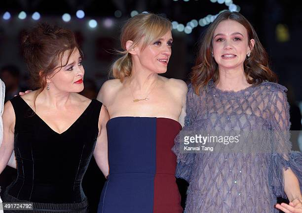 Helena Bonham Carter AnneMarie Duff and Carey Mulligan attend a screening of Suffragette on the opening night of the BFI London Film Festival at...