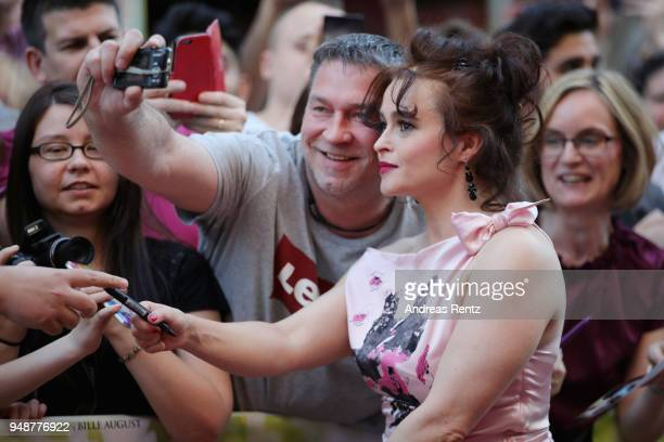 Helena Bonham Carter arrives for Eleanor Colette premiere at Lichtburg on April 19 2018 in Essen Germany