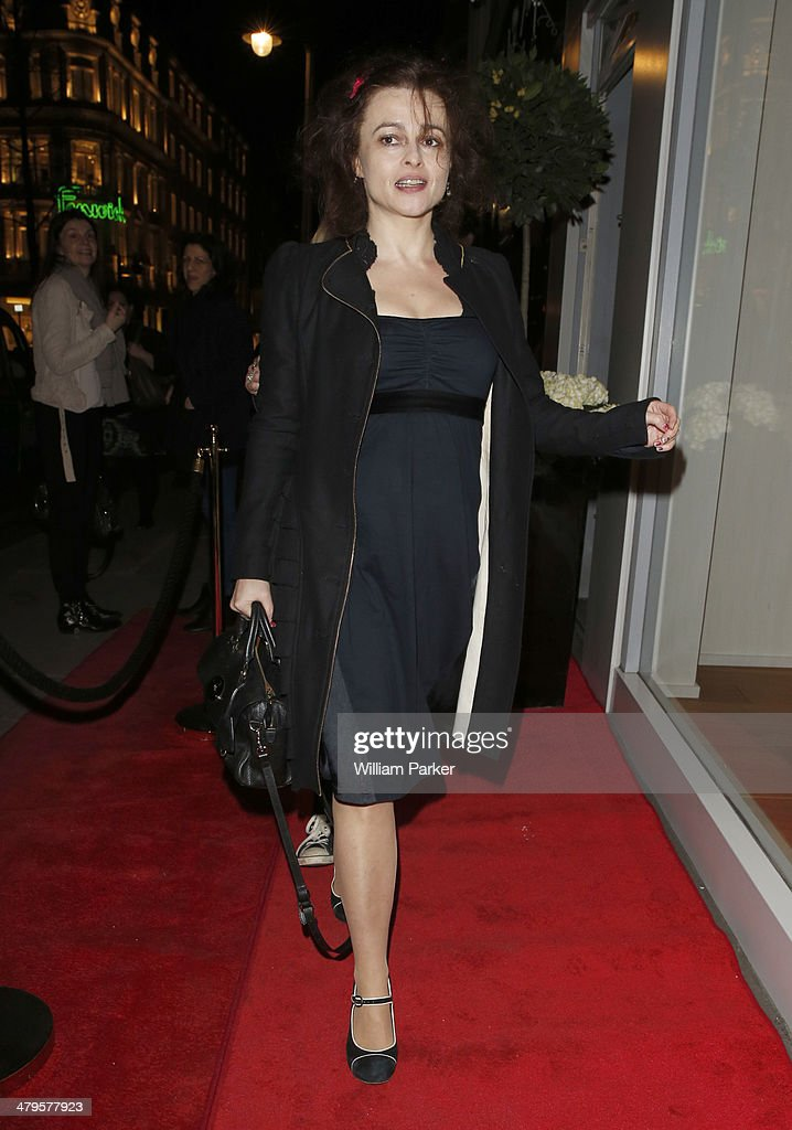 Helena Bonham Carter arriving at High flagship store launch party on March 19, 2014 in London, England.