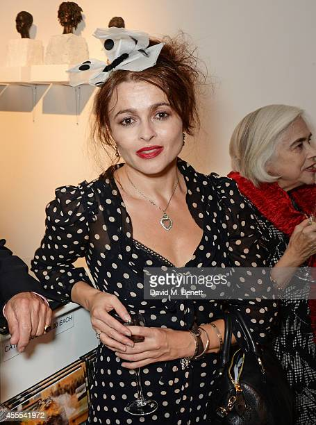 Helena Bonham Carter attends a private view for Nicole Farhi's debut exhibition of sculptures 'From The Neck Up' at Bowman Sculpture on September 16...
