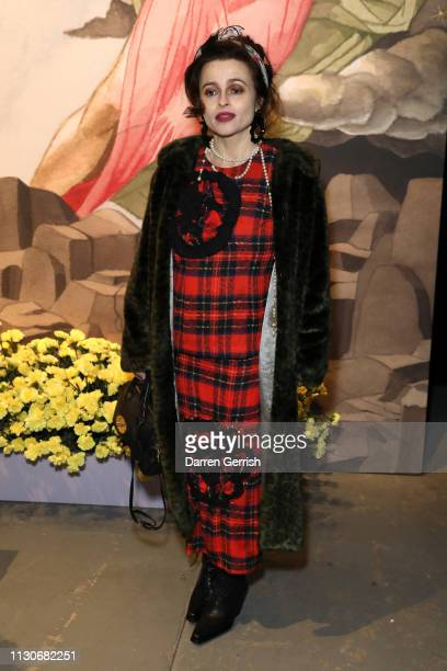 Helena Bonham Carter attends the Shrimps show during London Fashion Week February 2019 at Ambika P3 on February 19, 2019 in London, England.