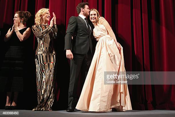 Helena Bonham Carter Cate Blanchett Richard Madden and Lily James attend the 'Cinderella' premiere during the 65th Berlinale International Film...