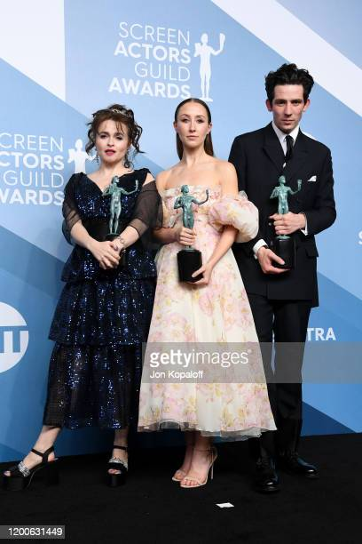 Helena Bonham Carter Erin Doherty and Josh O'Connor winners of Outstanding Performance by an Ensemble in a Drama Series for 'The Crown' pose in the...