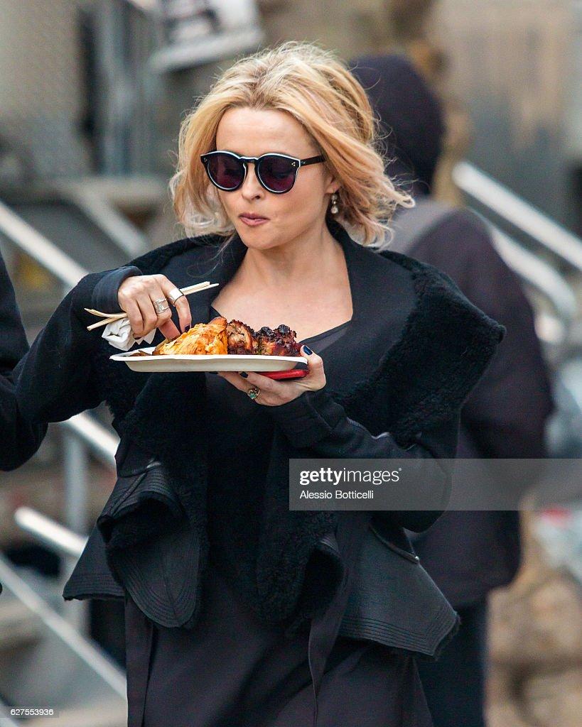 Helena Bonham Carter is seen on location for 'Ocean's Eight's 8' on December 3, 2016 in New York City.