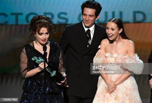 Helena Bonham Carter Josh O'Connor and Erin Doherty accept Outstanding Performance by an Ensemble in a Drama Series for 'The Crown' onstage during...