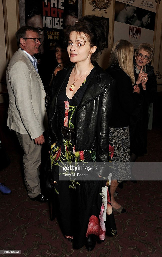 Helena Bonham Carter poses in the foyer following the press night performance of 'Passion Play' at the Duke Of York's Theatre on May 7, 2013 in London, England.