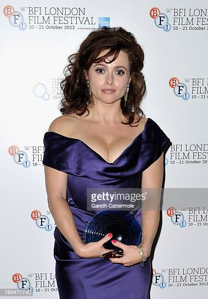 Helena Bonham Carter poses with her BFI Fellowship award during the 56th BFI London Film Festival Awards at the Banqueting House on October 20 2012...