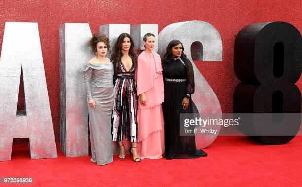 Helena Bonham Carter Sandra Bullock Sarah Paulson and Mindy Kaling attend the 'Ocean's 8' UK Premiere held at Cineworld Leicester Square on June 13...