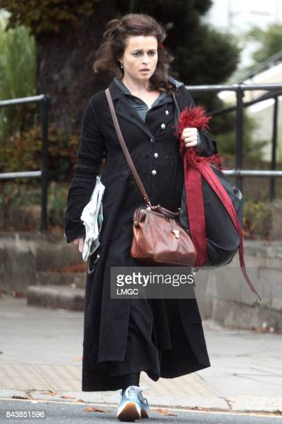 Helena Bonham Carter seen picking up a newspaper on her walk through Belsize Park on September 7 2017 in London England