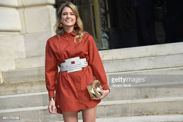 Helena Bordon arrives at the Versace show as part of Paris Fashion Week Haute Couture Fall/Winter 20142015 on July 6 2014 in Paris France