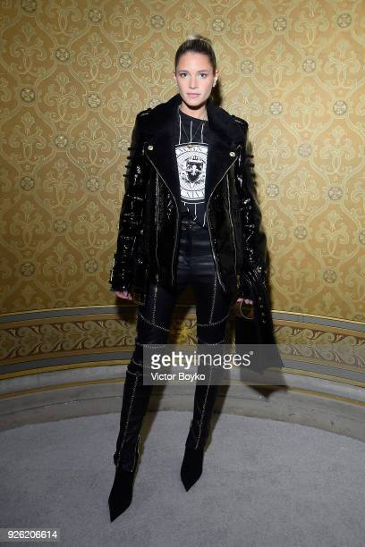 Helena Bordon attends the Balmain show as part of the Paris Fashion Week Womenswear Fall/Winter 2018/2019 on March 2 2018 in Paris France