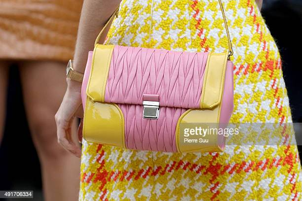 Helena Bordon handbag detail arrives at the Miu Miu show as part of the Paris Fashion Week Womenswear Spring/Summer 2016 on October 7 2015 in Paris...