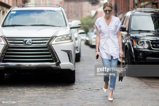 Helena Bordon in front of a Lexus seen in the streets of Manhattan outside Jason Wu during New York Fashion Week on September 8 2017 in New York City