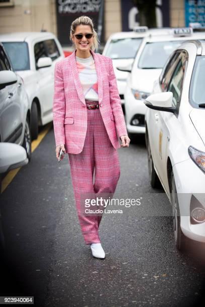 Helena Bordon in Giorgio Armani pink tailleur is seen outside Giorgio Armani show during Milan Fashion Week Fall/Winter 2018/19 on February 24 2018...