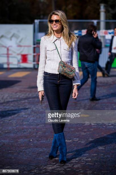 Helena Bordon is seen after the Chanel show during Paris Fashion Week Womenswear SS18 on October 3 2017 in Paris France