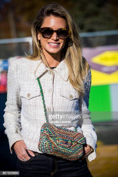 Helena Bordon is seen before the Chanel show during Paris Fashion Week Womenswear SS18 on October 3 2017 in Paris France